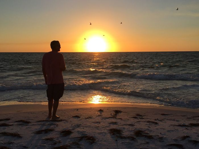 Rear view of silhouette mature man standing on beach against sky during sunset