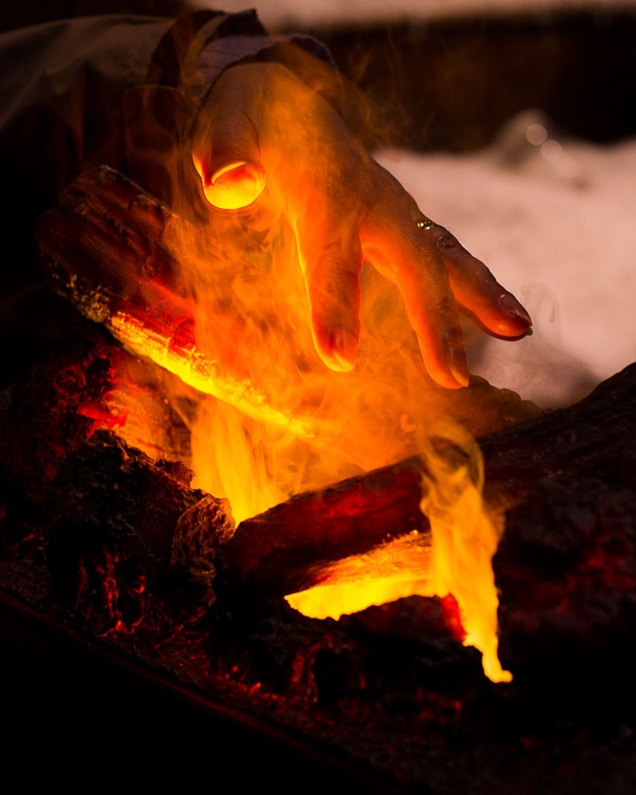 flame, burning, heat - temperature, fire - natural phenomenon, bonfire, fire, campfire, glowing, heat, close-up, indoors, night, firewood, orange color, men, danger, high angle view