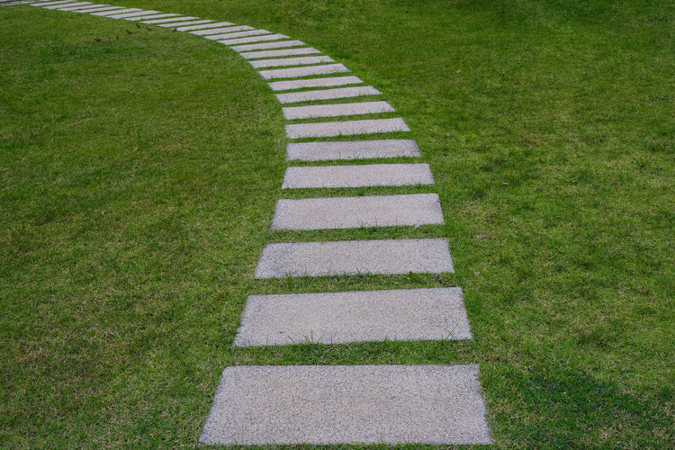High angle view of footpath amidst grassy field