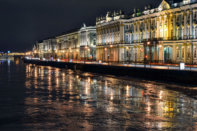 Saint Petersburg, Russia. Dvortsovaya (Palace) Embankment Dvortsovaya (Palace) Embankment Russia Saint Petersburg Architecture Building Exterior Built Structure City Illuminated Night Outdoors Reflection Sky Travel Destinations Water Waterfront Colour Your Horizn Mobility In Mega Cities