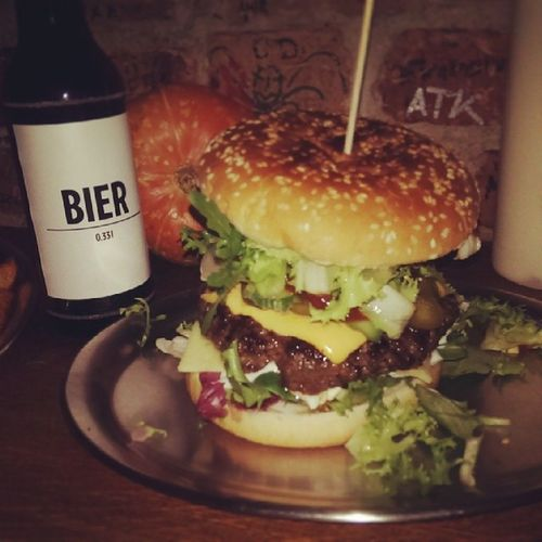 best burger in town... Berlin Burger International . Washed down with a Bier