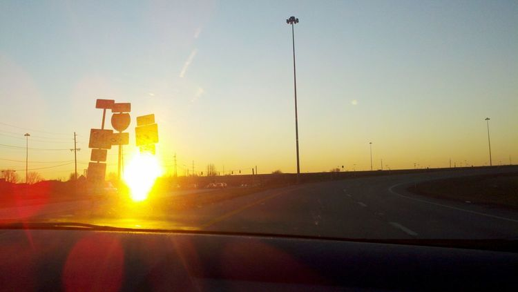 On ramp to open road adventure. Travel Road Trip Road Travel Highway Highway Signs Sunset Evening Lens Flare Sun Solar Sun Sunlight Open Road Adventure Freedom Freelance Life On Ramp Interstate Highway Louisville Kentucky  USA Roads Silhouette Space For Copy