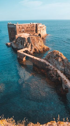 Berlengas Fort of Sao Fort Castle Surf Naturelovers Nature_collection Fromwhereidrone Sony A6000 Sony Nature Photography Travel Destinations Bucketlist Wonderful Place Beautifuldestinations Beautiful Sky And Clouds Wanderlust Landmark Landscape Panorama Tranquil Scene Nature Beach Rock No People Blue Day Outdoors Solid Rock - Object Land