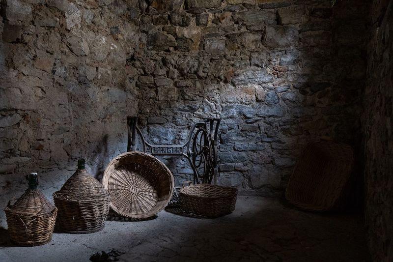 Stone wall in basket
