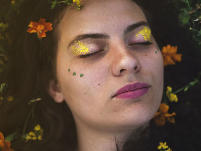 Beautiful Earth Earthy Flowers,Plants & Garden Green Love Makeup Orange Pink Romance Romantic Beautiful Woman Beauty Close-up Day Eyes Closed  First Eyeem Photo Flower Flower Head Flowers Human Face One Person Yellow Young Adult Young Women