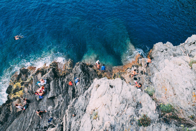 HIGH ANGLE VIEW OF PEOPLE ON ROCKS BY SEA