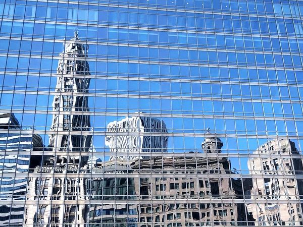 Reflections in Chicago. Blue Full Frame Backgrounds Day No People Built Structure Architecture Pattern Wall - Building Feature Building Exterior