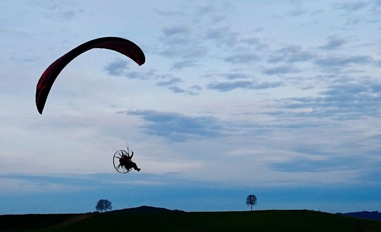 Paragliding Motorparagliding Tree Silhouette Outdoor Sport Austria Upper Austria