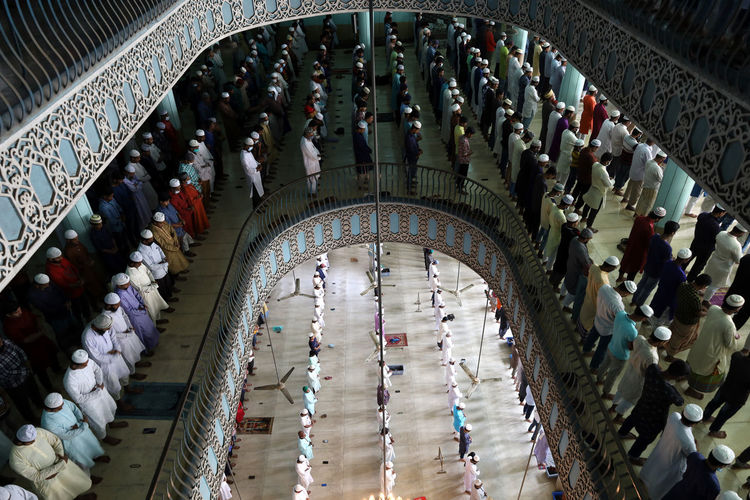 High angle view of people in mosque