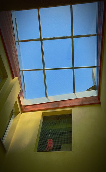 Blue Sky The Sky Is Blue Yellow Walls Architecture Architectural Windows Looking Up Looking Out Of The Window