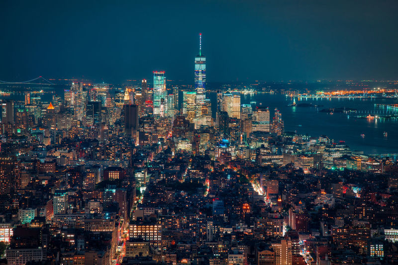 High angle view of new york city lit up at night