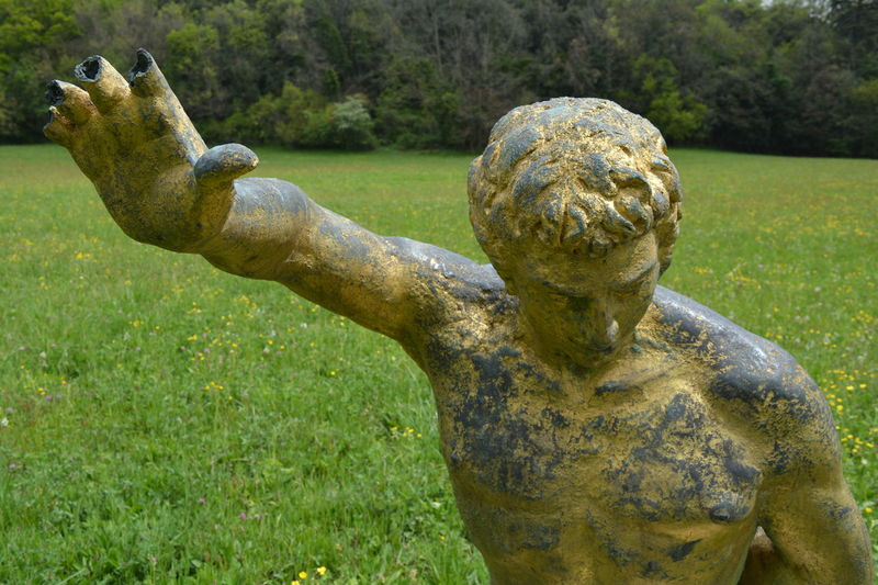 Day Gold Grassy Green Green Color Immortal Motionless Nature No People Statue Stop
