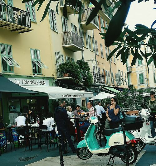 #sud #France #dolcevita #nissabella Colour Your Horizn Bicycle Cafe City Day People Outdoors