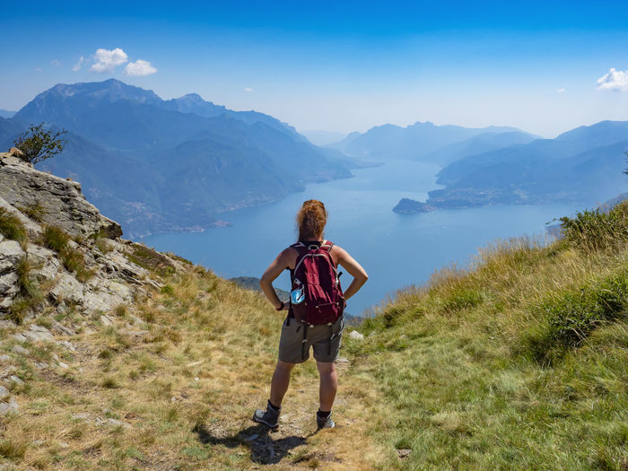Trekking scene on lake como alps