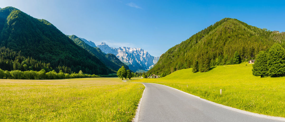 Logarska valley in the morning Adventure Beauty In Nature Countryside Day Hiking Landscape Lush Foliage Mountain Mountain Range Nature Outdoors Perspective Remote Road Scenics Slovenia Tranquility Travel Trip Valley