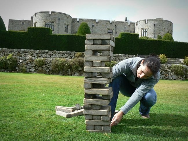 Fun And Games in the grounds of Chirk a grand setting for a game of Jenga 😆