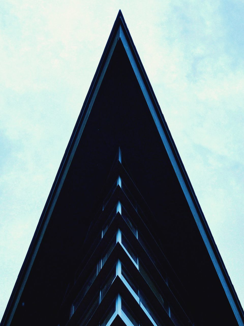 low angle view, architecture, built structure, sky, building exterior, no people, triangle shape, day, outdoors, close-up