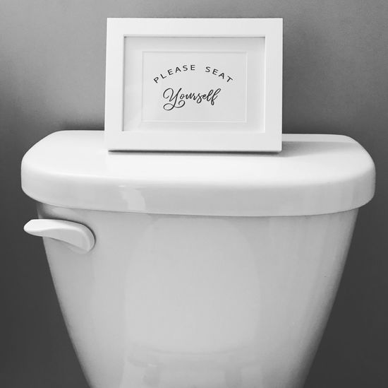 Restaurant Sign Toilet Sign Decor Restroom Signage Restroom Sign Signage Instructional Humor Blackandwhite Wc White Color Close-up Toilet Bowl