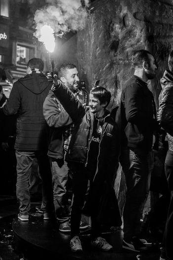 Large Group Of People Night Togetherness Real People Lifestyles Matchday Footballislife Football Fans Game Soccer⚽ Fan - Enthusiast Leisure Activity Crowd Men Beşiktaş çarşı Beşiktaş ıstanbul Türkiye Be. Ready.