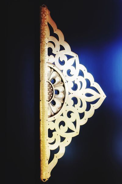 Large golden stencil on the Door hinges. Art On The Wall Gold Colored Japanese Style Japanese Culture ArtWork Door Hinges Close-up No People Low Angle View Night Illuminated Indoors  Black Background