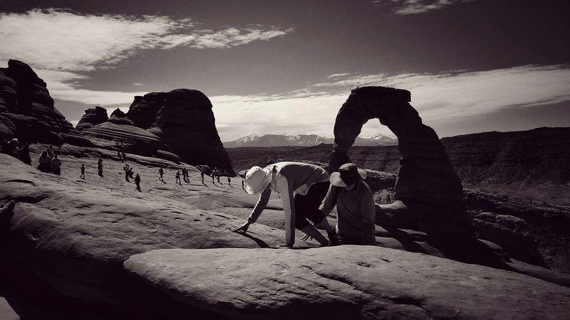 Delicate Arch Hike Rock - Object Cloud - Sky People EyeEm Best Shots - Black + White Lost In The Landscape Step It Up Go Higher