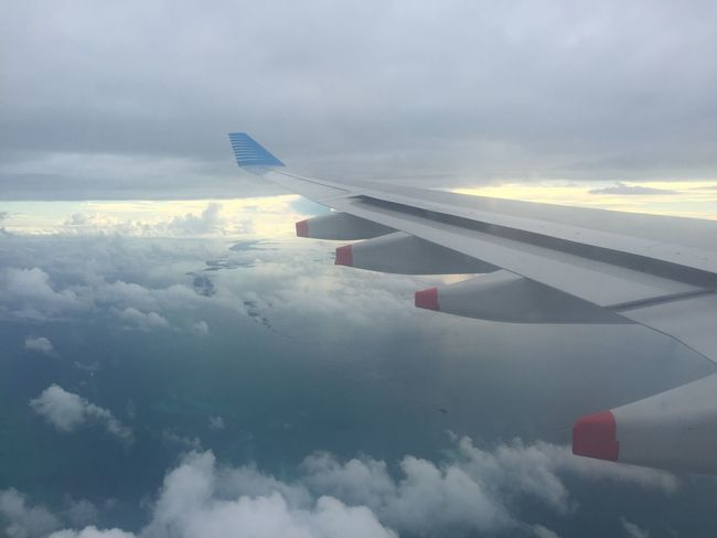 Cloud - Sky Sky Airplane Nature Transportation Cloudscape Airplane Wing White Beauty In Nature Journey Mode Of Transport Aerial View Scenics Weather No People Aircraft Wing Air Vehicle Day Outdoors Travel