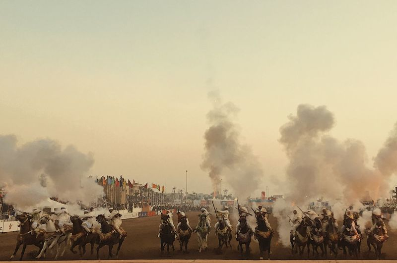 Tbourida Tbourida Gunpowder Morocco Horse Riding Group Of People Real People Crowd Large Group Of People Sky Men Smoke - Physical Structure