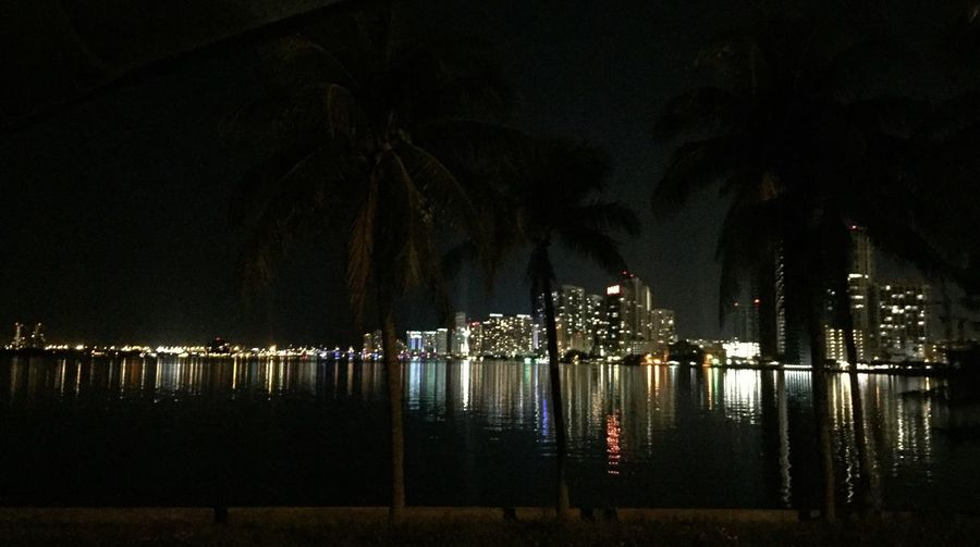 Miami Beach Miami At Night Miami Skyline Nightphotography Night Lights Night Photography Water Reflections Miami At Night