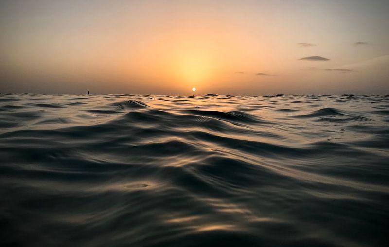 Water Sea Sky Sunset Scenics - Nature Horizon Over Water Horizon Tranquil Scene Nature Idyllic Orange Color Waterfront Outdoors The Mobile Photographer - 2019 EyeEm Awards The Great Outdoors - 2019 EyeEm Awards