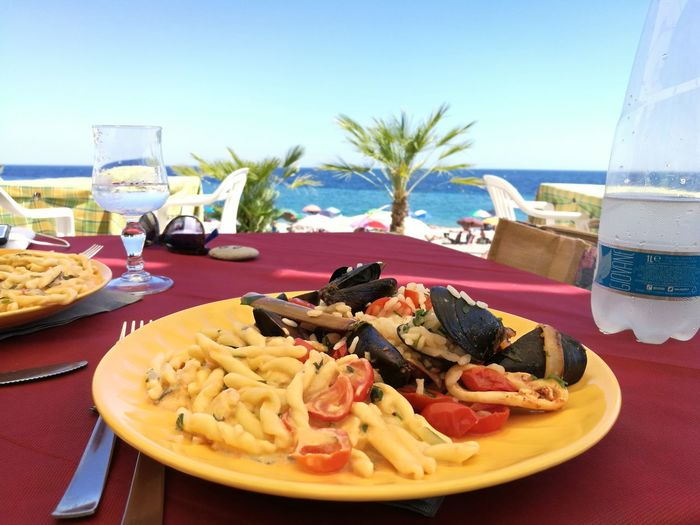 Nature Beach Colors Blue Beach Photography Clear Sky Food And Drink No People Restaurant NoFilterNoEdition Summer Views Summer Color Italy🇮🇹 Beautiful Day Tranquility Travel Destinations Beautiful Colors Point Of View Business Stories
