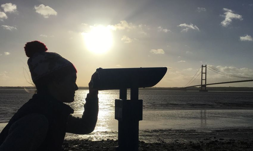 Girl In Bobble Hat Silhouette Telescope Humber Bridge River Humber Tranquility Winter Sun Hull 2017 Hull City Of Culture 2017