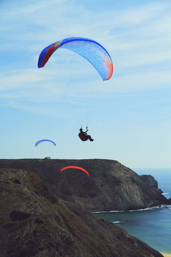 Adventure Alentejo Lovers Alentejo,Portugal Beach Beautiful Portugal Beauty In Nature Costa Vincentina Costa Vincentina, Alentejo Day Extreme Sports Flying Freedom Lifestyles Mountain Paragliding Sea Sky