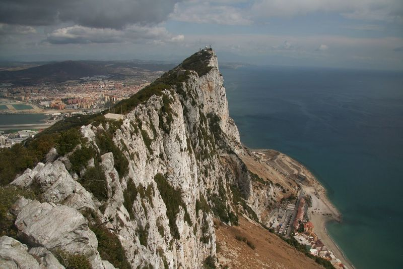 High angle view of rock of gibraltar against sky