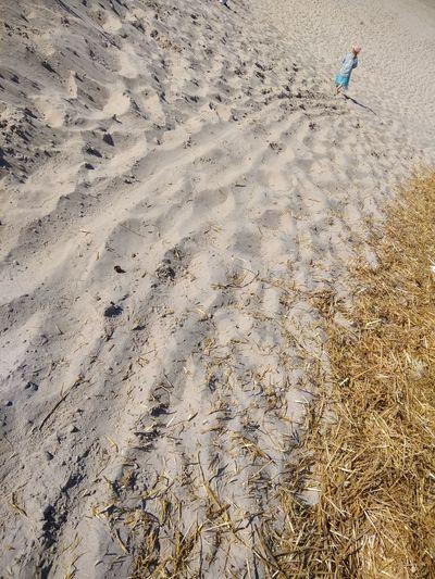 Rear view of girl walking at beach