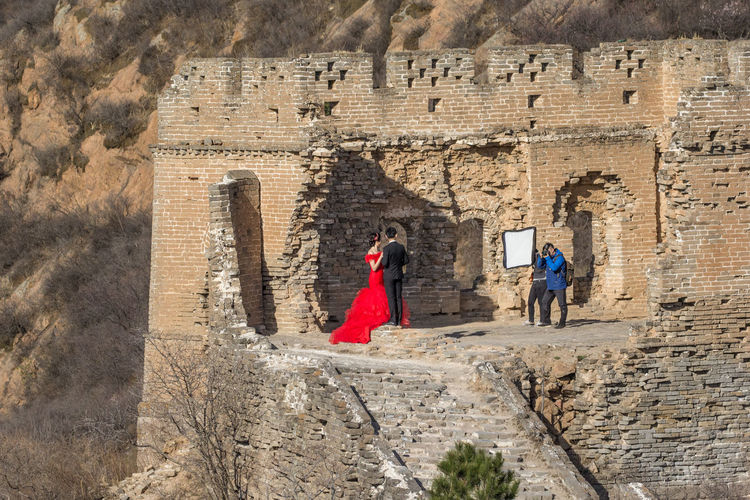 Adults Only Ancient Architecture Bride Bride And Groom Built Structure Close-up Day Great Wall Of China Groom Old Ruin Outdoors People Red Spring Time 🌻 Tourism The Great Outdoors - 2017 EyeEm Awards