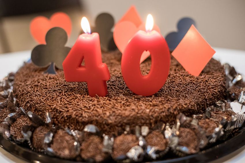 40 Anniversary Baked Birthday Cake Candles Brigadeiro Burning Candle Celebration Chocolate