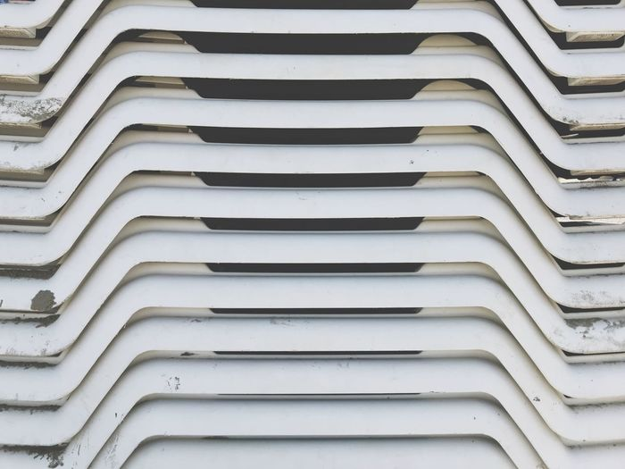 Stacked Stack Beach Chairs Full Frame Pattern Backgrounds No People Repetition In A Row Architecture Arrangement Close-up Order