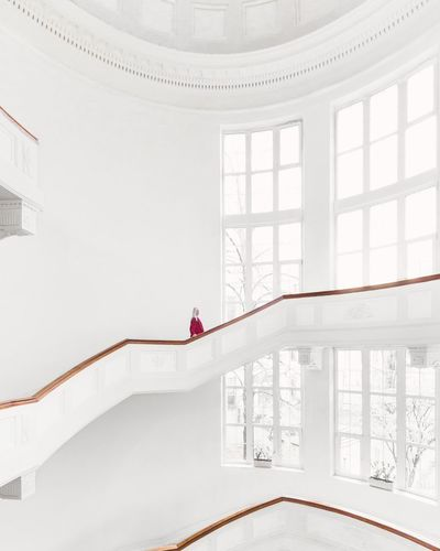 ⚪🌀⚪︱stairway to heaven Indoors  Architecture Day Canonphotography Canon EyeEm On The Week EyeEm Of The Week EyeEmNewHere The Week On EyeEm EyeEm Selects Minimalism Minimal Minimalist VSCO Cam VSCO Warsaw EyeEm Best Shots Minimalist Photography  Interior Design Spiral Staircase Staircase Red Color White Background White First Eyeem Photo The Week On EyeEm Editor's Picks The Graphic City