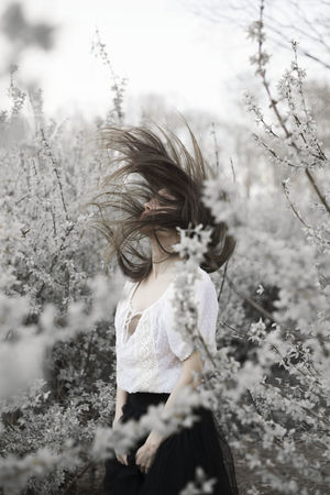Dark Fairy Fashion Hair Story Of My Life Woman Casual Clothing Childhood Day Emotions Captured Fineart Flower Head Fragility Girls Lifestyles Motion Nature One Person Outdoors Real People Sadness Tree White Flower Young Adult Young Women