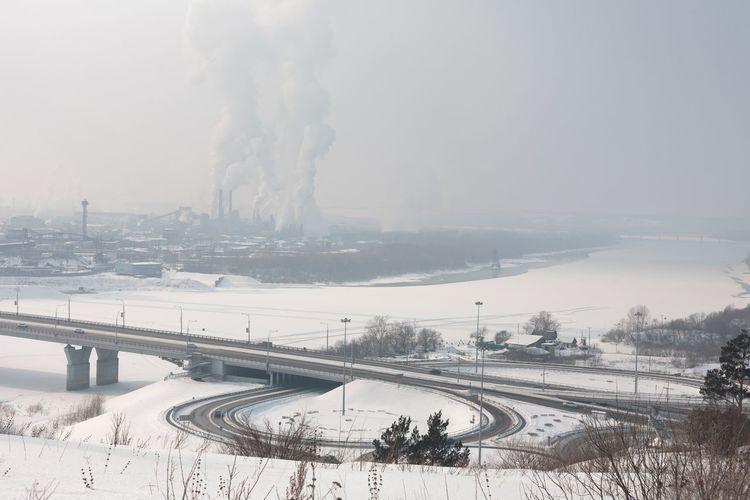 Industrial winter landscape. Kemerovo Siberia Road Junction Cold Temperature Winter Fog Snow Outdoors Landscape No People