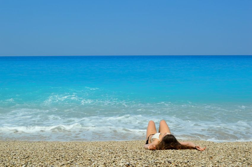 Milos beach in Lefkada Beach Beauty In Nature Blue Calm Coastline Horizon Over Water Idyllic Nature No People Non-urban Scene Ocean Outdoors Relaxation Remote Scenics Sea Showcase July Shore Sky Sunny Tranquil Scene Tranquility Vacations Water People And Places
