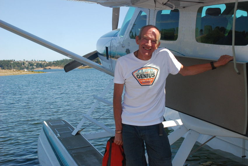 Sea Plane Seair Bording Flight Cheerful Day Front View Happiness Leisure Activity Lifestyles Looking At Camera One Person Outdoors People Portrait Real People Sky Smiling Standing Three Quarter Length Vancouver Island BC Young Adult
