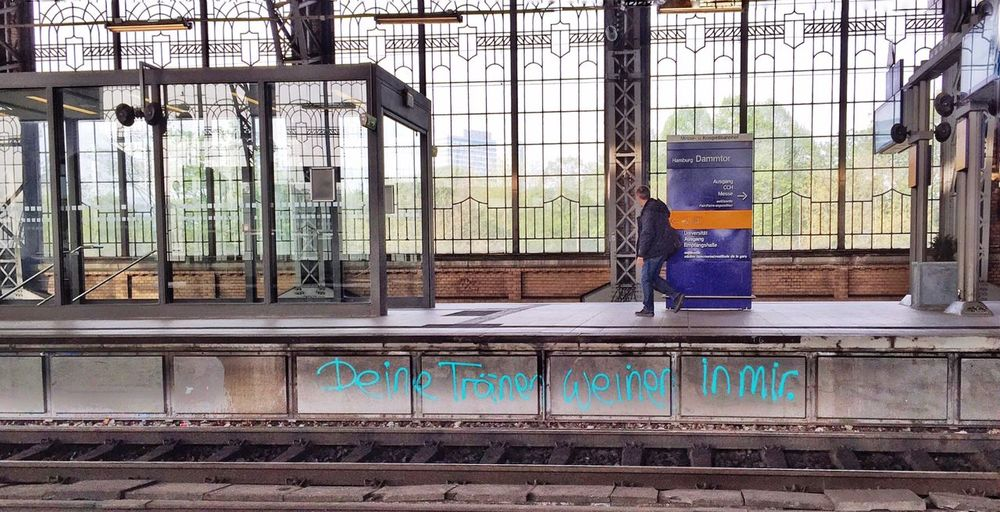 "Graffiti ""deine tränen weinen in mir"" Taking Photos Streetphotography Public Transportation Tadaa Community ( your tears crying in me) In The Terminal"