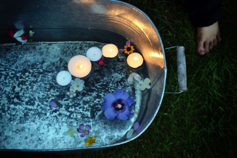 Summer Summertime Candle Flowers Bath Feet Kidsfeet Evening Water