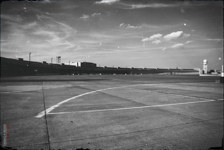 Berlin Tempelhof Airport Air Field Zentralflughafen Blackandwhite Vintage Photo