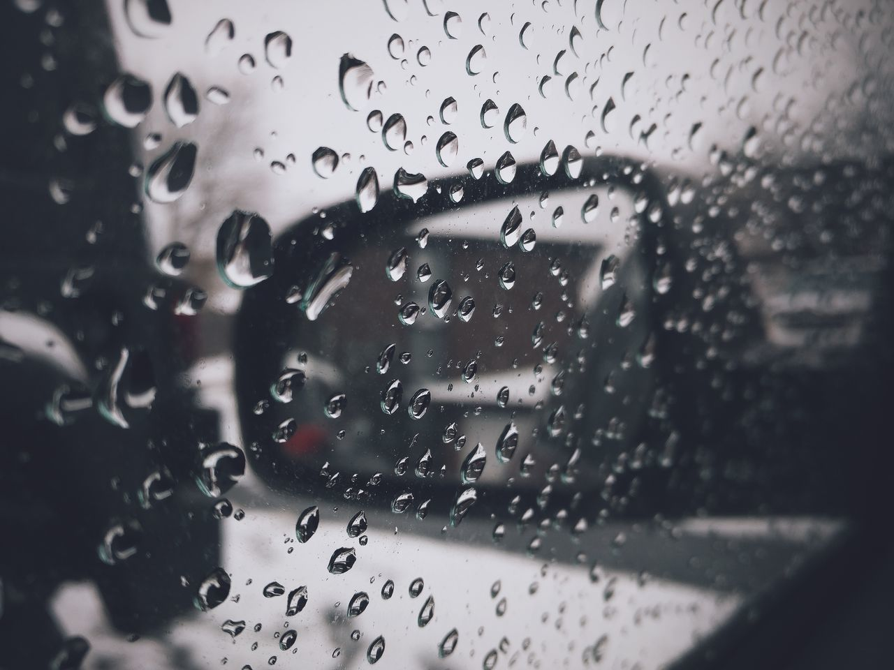 drop, water, wet, glass - material, window, rain, indoors, land vehicle, close-up, no people, car, windshield, raindrop, car interior, full frame, day, freshness