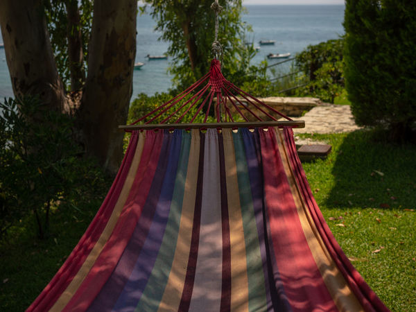 Clothing Day Focus On Foreground Grass Hammock Hammock Time Hanging Land Multi Colored Nature No People Outdoors Plant Sky Textile Tranquility Tree Tree Trunk Trunk Water Wooden Post