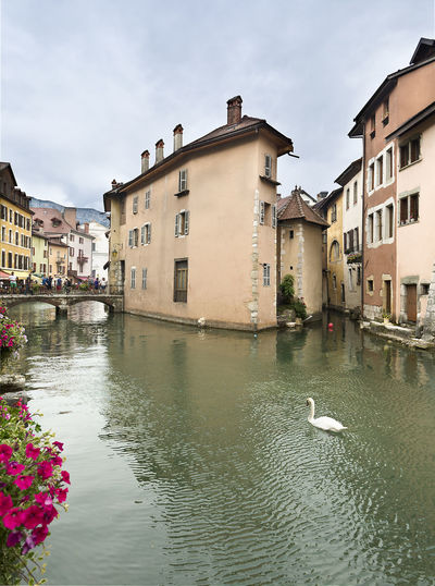 Annecy, France July 15, 2018: Views of the beautiful town of Anncey located in the department of Haute-Savoie, Auvergne-Rhone-Alpes, France. Anncey France City Cityscape France Rhône Skyline Tourist Tourist Attraction  Travel Traveling Alpes Annecy Architecture Building Building Exterior Built Structure Lago People Sky Summer Tourist Destination Town Travel Destinations Water Waterfront