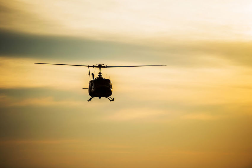 Air Vehicle Day Flying Helicopter Low Angle View Mid-air Mode Of Transport No People Outdoors Silhouette Sky Sunset Technology Transportation