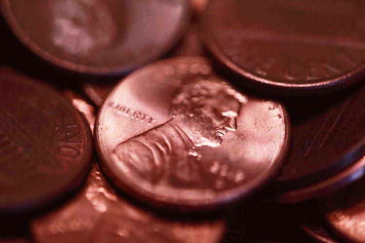 Full Frame Shot Of Pennies
